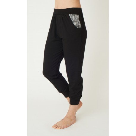 Heavenly Harem Pants Jet Black with 50's Vintage Print Pockets